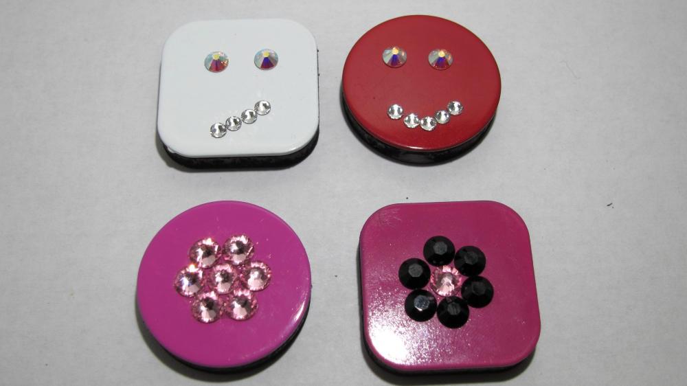 Set of 4 Swarovski Crystal Magnets - Happy Face, Skeptical Face & Flowers